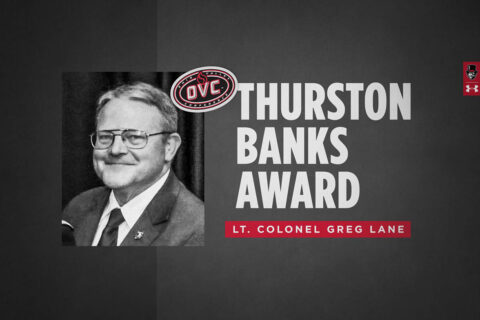 Austin Peay State University ROTC  Lt. Colonel Greg Lane named recipient of 2021 OVC Thurston Banks Award. (APSU Sports Information)