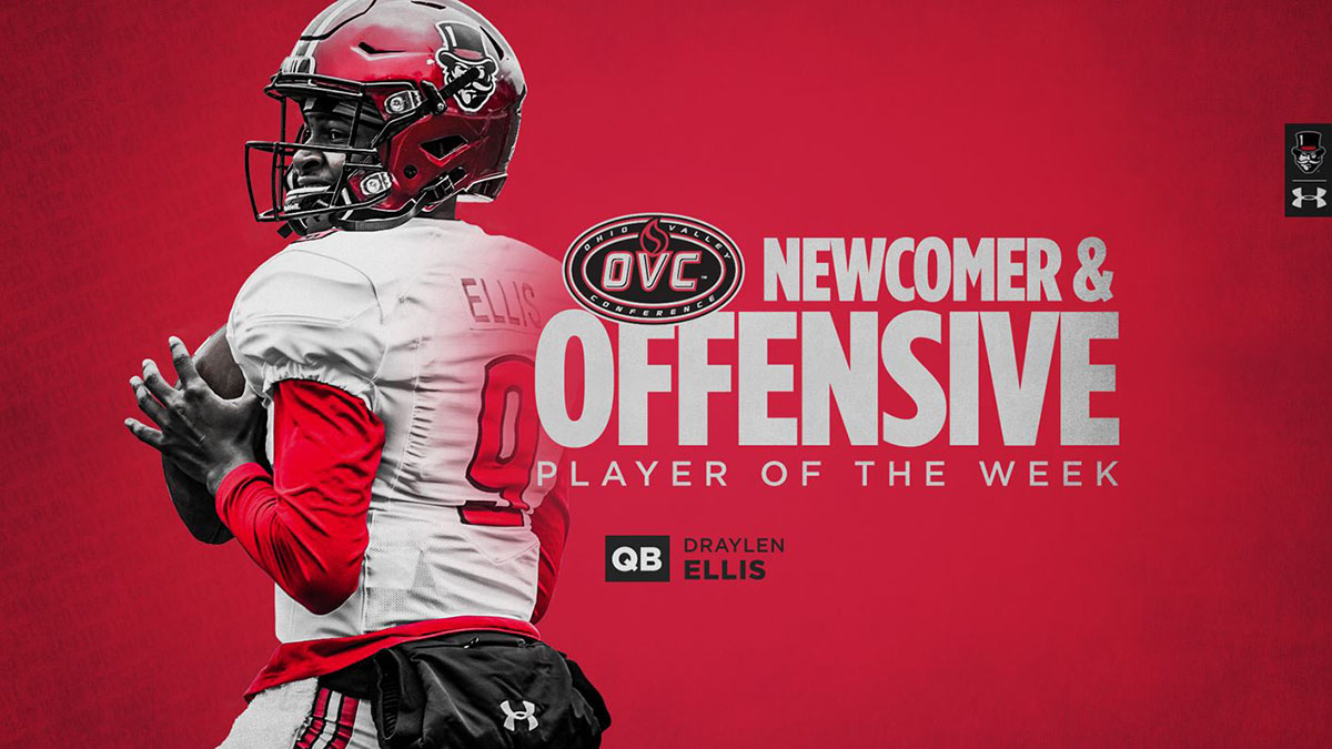 Austin Peay State University Football's Draylen Ellis names OVC Offensive Player of the Week and Newcomer of the Week. (APSU Sports Information)
