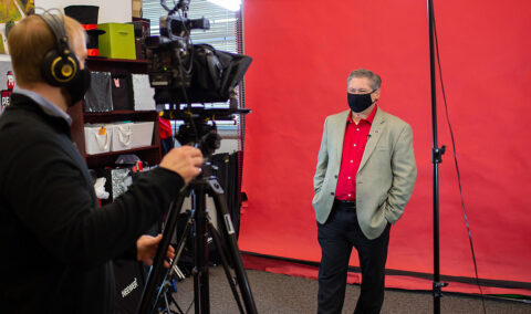 President Michael Licari prepares to deliver his opening video message to Austin Peay State University. (APSU)