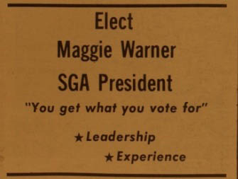 A campaign ad in The All State in 1975. (APSU)