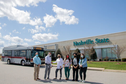 (L to R) Scott Audet, CTS Operations Supervisor; Paul Nelson, CTS Director; Kathleen Akers, Associate Dean/Director of the Nashville State Clarksville Campus; Alissa Thacker, Admissions Clerk; Dyamond Williams, Financial Aid Clerk; Jessica Luna, Student Services Specialist II.