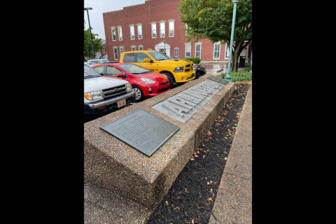 Marker where the Montgomery/Arlington Hotel stood in Clarksville, Tennessee