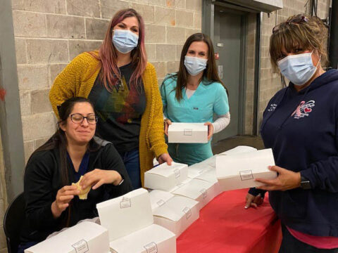 Lunch donations provided to workers at Montgomery County COVID-19 Coronavirus vaccination site.
