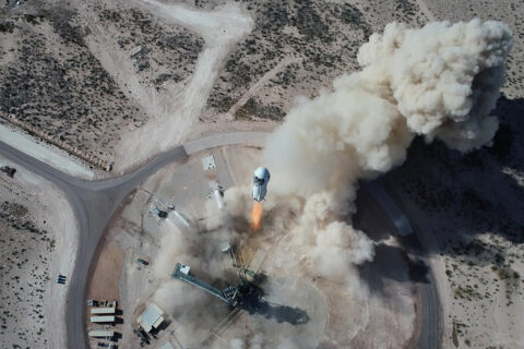 New Shepard (NS-14) lifts off from Blue Origin's Launch Site One in West Texas. (Blue Origin)