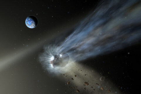 Illustration of a comet from the Oort Cloud as it passes through the inner solar system with dust and gas evaporating into its tail. SOFIA's observations of Comet Catalina reveal that it's carbon-rich, suggesting that comets delivered carbon to the terrestrial planets like Earth and Mars as they formed in the early solar system. (NASA/SOFIA/Lynette Cook)
