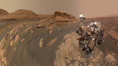 NASA's Curiosity Mars rover used two cameras to create this selfie in front of Mont Mercou, a rock outcrop that stands 20 feet (6 meters) tall. (NASA/JPL-Caltech/MSSS)
