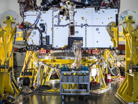 During its final full systems test, technicians powered on all of the James Webb Space Telescope's various electrical components installed on the observatory, and cycled through their planned operations to ensure each was functioning, and communicating with each other. (NASA/Chris Gunn)