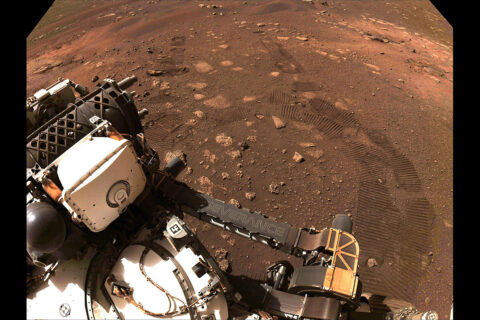 This image was taken during the first drive of NASA's Perseverance rover on Mars on March 4th, 2021. (NASA/JPL-Caltech)