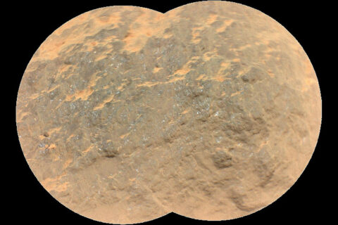 "Combining two images, this mosaic shows a close-up view of the rock target named ""Yeehgo"" from the SuperCam instrument on NASA's Perseverance rover on Mars. (NASA/JPL-Caltech/LANL/CNES/CNRS/ASU/MSSS)"