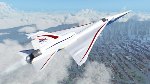 NASA's X-59 Quiet SuperSonic Technology aircraft, or QueSST, is designed to fly faster than the speed of sound without producing a loud, disruptive sonic boom, which is typically heard on the ground below aircraft flying at such speeds. Instead, with the X-59, people on the ground will hear nothing more than a quiet sonic thump – if they hear anything at all. (NASA / Joey Ponthieux)