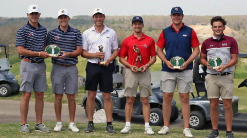 Austin Peay State University Men's Golf senior (3rd from left)  Michael Busse took runner-up honors at Murray State Invitational. (APSU Sports Information)