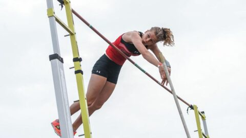 Austin Peay State University Track and Field sophomore Karlijn Schouten wins the pole vault Friday at the Hilltopper Relays. (APSU Sports Information)