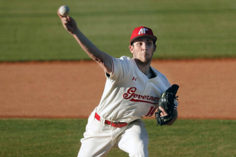 Austin Peay State University Baseball pitcher Luke Brown tosses complete game in Govs series-opening win over UT Martin. (Robert Smith, APSU Sports Information)