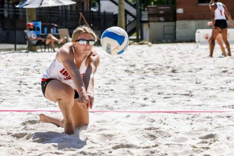 Austin Peay State University Women's Volleyball ends regular season with split at Eastern Kentucky Beach Tournament. (APSU Sports Information)