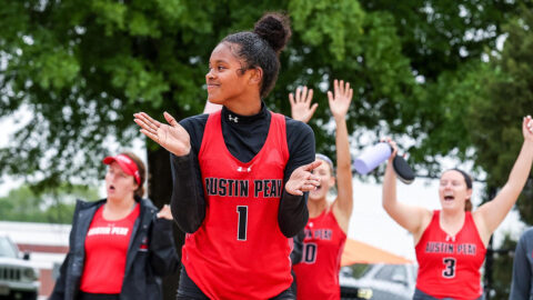 Austin Peay State University Beach Volleyball takes down Jacksonville State 3-2 then beats Morehead State 3-2 at OVC Championship. (APSU Sports Information)
