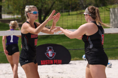 Austin Peay State University Beach Volleyball pairing of Jenna Panning and Brooke Moore won their first match against UT Martin. (APSU Sports Information)