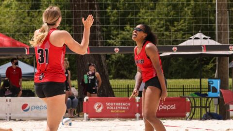 Austin Peay State University Beach Volleyball beats Eastern Kentucky 4-1 before falling later to Chattanooga 3-2 at the Jacksonville State Tournament. (APSU Sports Information)