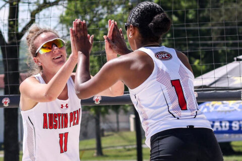Austin Peay State University Beach Volleyball defeats UT Martin 4-1 and 4-1 Wednesday. (APSU Sports Information)
