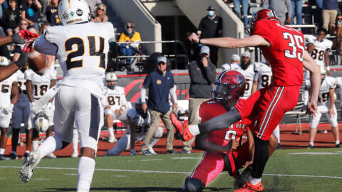 Austin Peay Stae University Football kicker Grant Paulette hits a 33-yard field gold with two seconds left in the game to give the Govs a 34-31 victory over ranked Murray State. (APSU Sports Information)