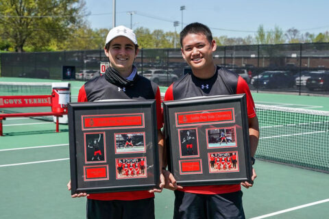 Austin Peay State University Men's Tennis seniors (L to R) Jacob Lorino and Christian Edison were honored Friday on Senior Day. (APSU Sports Information)