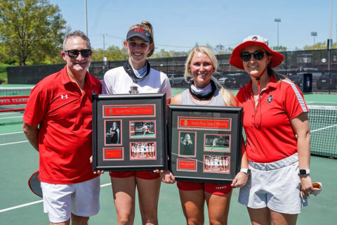 Austin Peay State University Women's Tennis seniors (L to R) Fabienne Schmidt and Ana Albertson were honored Friday on Senior Day. (APSU Sports Information)