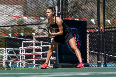 Austin Peay State University Women's Tennis drops doubles point but battles back to beat Belmont, 4-3 in Nashville. (APSU Sports Information)