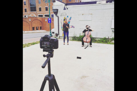 """Austin Peay State University students film a scene of """"Hope: The Work Begins"""" in downtown Clarksville. (APSU)"""