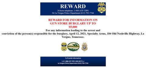 ATF offers reward in La Vergne Gun Store Burglary