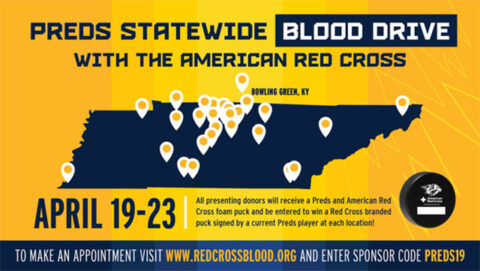 American Red Cross and Nashville Predator Blood Drives in April