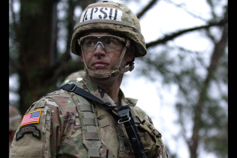 An Austin Peay State University ROTC Ranger Challenge team cadet at the 2021 competition. (APSU)