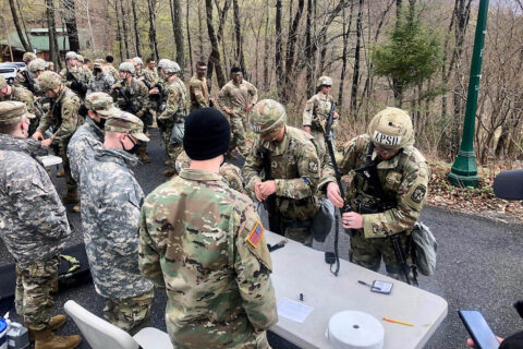 Austin Peay State University's ROTC Ranger Challenge team competes during Day 1 of the Sandhurst competition. (APSU)