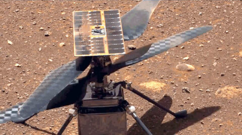 The Ingenuity Mars Helicopter's carbon fiber blades can be seen in this video taken by the Mastcam-Z instrument aboard NASA's Perseverance Mars rover on April 8th, 2021, the 48th Martian day, or sol, of the mission. They are performing a wiggle test before the actual spin-up to ensure they were working properly. (NASA/JPL-Caltech/ASU)