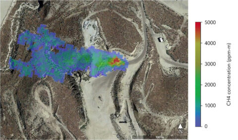 A methane plume detected by NASA's AVIRIS-NG in summer 2020 indicates a leaking gas line in oil field in California. The operator subsequently confirmed and repaired the leak. (NASA/JPL-Caltech)