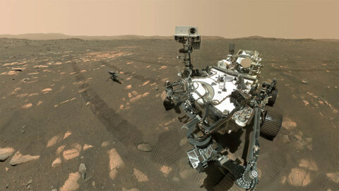 NASA's Perseverance Mars rover took a selfie with the Ingenuity helicopter, seen here about 13 feet (3.9 meters) from the rover. This image was taken by the WASTON camera on the rover's robotic arm on April 6th, 2021, the 46th Martian day, or sol, of the mission. (NASA/JPL-Caltech/MSSS)