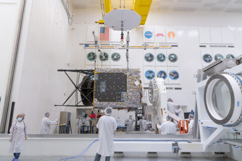 In late March of 2021, a main component of NASA's Psyche spacecraft was delivered to JPL, where assembly, test, and launch operations are underway. (NASA/JPL-Caltech)