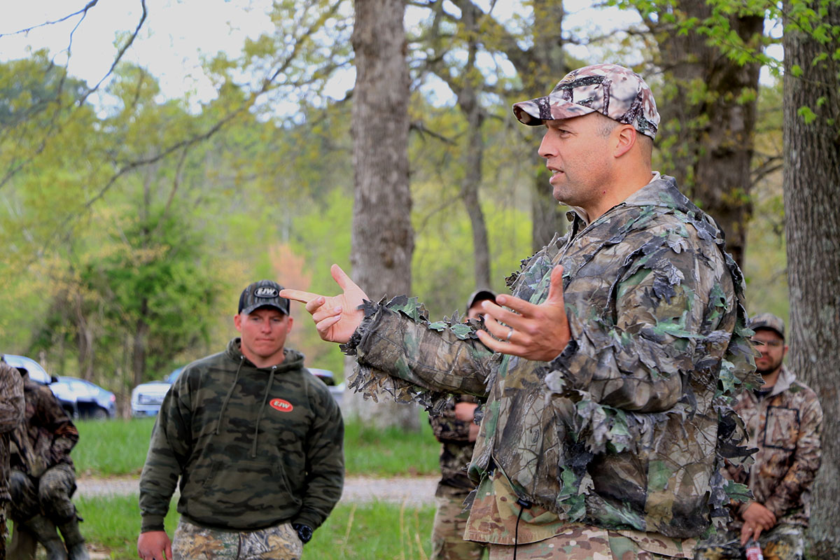 Brig. Gen. Clair Gill, Deputy Commanding General, 101st Airborne Division (Air Assault), speaks to the duck hunters during the annual turkey hunt here, April 17th, 2021. (Sgt. 1st Class Jacob Connor, 101st Airborne Division)