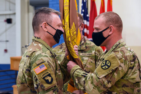 Outgoing Command Chief Warrant Officer 5 Ricky Tackett relinquished responsibility to Chief Warrant Officer 4 David Ward during a change of responsibility ceremony held at Tennessee National Guard's Joint Force Headquarters, March 31st. (Sgt. 1st Class Edgar Castro Palencia)