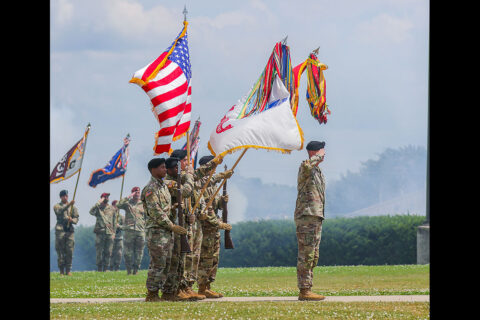 The division colors approach and render a salute during the playing of the National Anthem during the division change of responsibility May 27th, 2021, at the division headquarters, Fort Campbell, KY. (Spc. John Simpson, 40th Public Affairs Detachment)