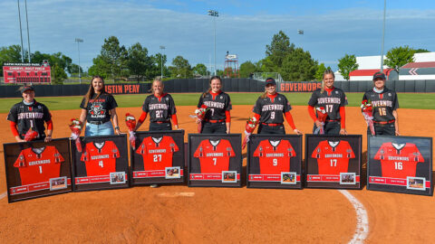 Austin Peay State University Softball celebrated senior players (L to R) Kelsey Gray, Jordan Benefiel, Katelyn Smith, Brett Jackson, Drew Dudley, Kelsey Gross, and Emily Moore, Saturday. (Casey Crigger, APSU Sports Information)
