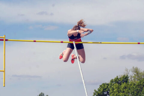 Austin Peay State University Track and Field's Karlijn Schouten wins Gold Medal in the pole vault at the OVC Championships. (APSU Sports Information)