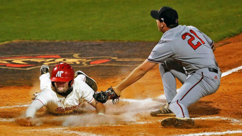 Austin Peay State University Baseball falls behind early in 12-7 loss to Arkansas State. (Robert Smith, APSU Sports Information)
