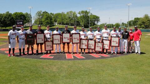 Austin Peay State University Baseball celebrated it's seniors before the Arkansas State game, Saturday. (Robert Smith, APSU Sports Information)