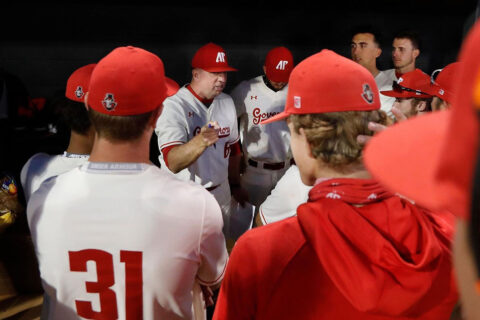 Austin Peay State University Baseball gets an 8-7 victory over Jacksonville State Saturday to give head coach Travis Janssen his 150th win with the Govs. (Robert Smith, APSU Sports Information)