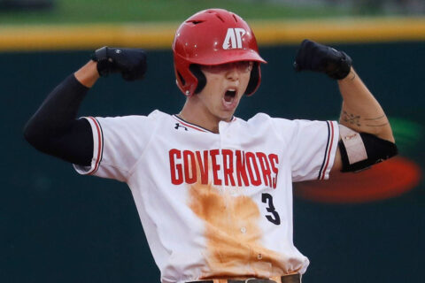 Austin Peay State University Baseball senior Bobby Head had seven hits in doubleheader action against Jacksonville State, Saturday. (Robert Smith, APSU Sports Information)