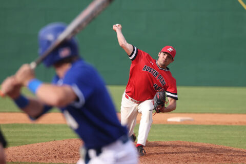 Austin Peay State University pitcher Drew McIllwain ties up Morehead State as Govs advance at OVC Tournament. (Eric Elliot, APSU Sports Information)