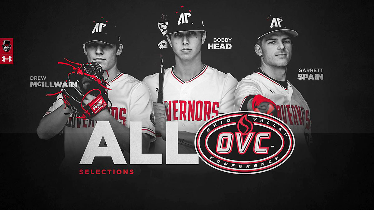 Austin Peay State University Baseball's Garrett Spain, Bobby Head, Drew McIllwain receive All-OVC Team recognition. (APSU Sports Information)