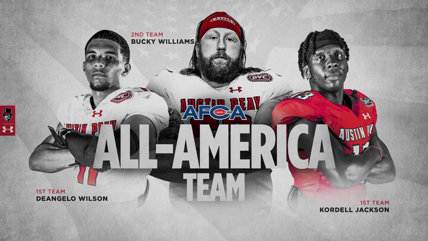 Austin Peay State University Football's DeAngelo Wilson, Bucky Williams and Kordell Jackson receive AFCA All-America honors. (APSU Sports Information)