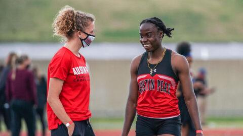 Austin Peay State University Track and Field's Kenisha Phillips, Karlijn Schouten gain entry to NCAA Preliminary. (APSU Sports Information)