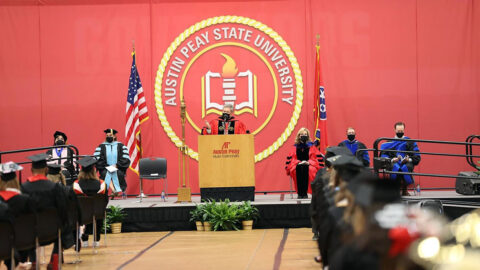 Austin Peay State University has Eighty-Three Student-Athletes and Athletics Staff take part in the Spring 2021 Commencement Ceremony. (APSU Sports Information)