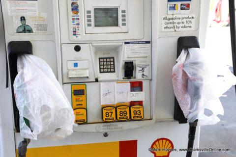 Gas pumps at Sam's Market on Highway 48.